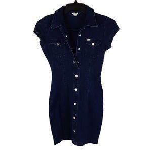 Guess, Dark Wash Blue Jean Dress, Junior Small